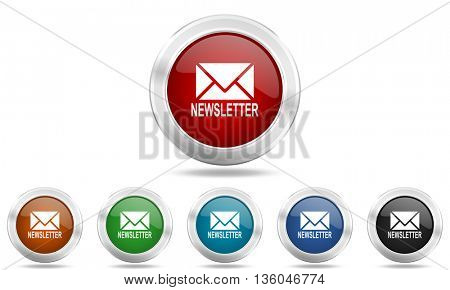 newsletter round glossy icon set, colored circle metallic design internet buttons