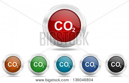 carbon dioxide round glossy icon set, colored circle metallic design internet buttons