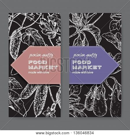 Set of two food market labels with fresh cucumbers and eggplant sketch. Placed on black background.