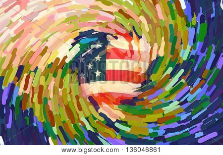 USA Flag Swirl 3D Render