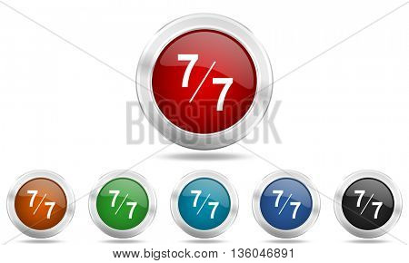 7 per 7 round glossy icon set, colored circle metallic design internet buttons