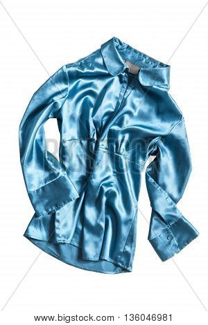 Blue satin crumpled blouse isolated over white