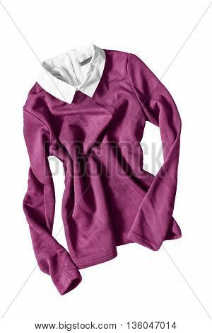 Pink pullover with white collar crumpled on white background