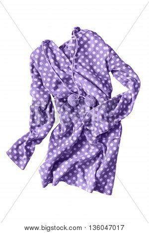 Purple fleece dress folded on white background