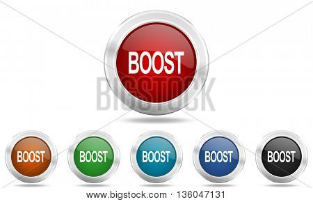 boost round glossy icon set, colored circle metallic design internet buttons