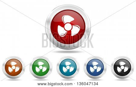 fan round glossy icon set, colored circle metallic design internet buttons