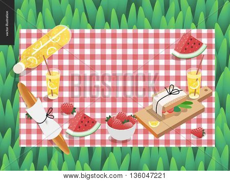 Picnic plaid and snack on green grass template - vector cartoon flat illustration of snack and drink for picnic, on a checkered pink picnic plaid on green grass background
