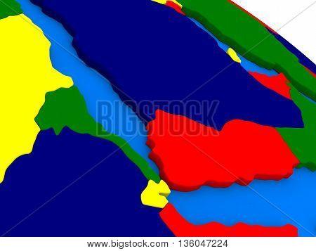 Yemen, Eritrea And Djibouti On Colorful 3D Globe