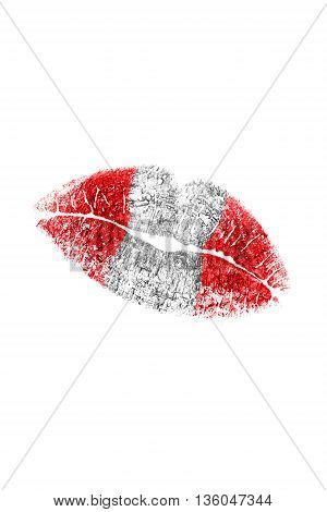 Kiss mark in austrian flag colors on white background