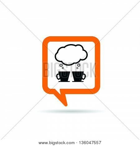 square orange speech bubble with two cup of coffee and speeach cloud icon