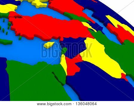 Middle East On Colorful 3D Globe