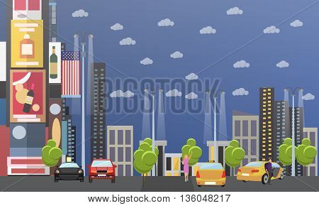 Taxi service company concept vector banner. People catch taxi on a street. Passengers in taxi car.