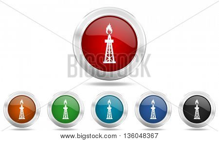 gas round glossy icon set, colored circle metallic design internet buttons