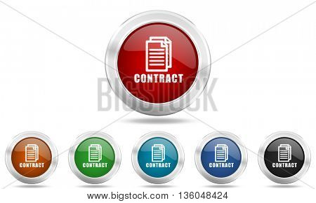 contract round glossy icon set, colored circle metallic design internet buttons