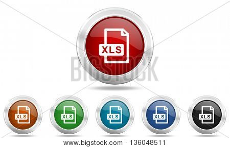 xls file round glossy icon set, colored circle metallic design internet buttons