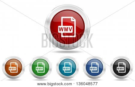 wmv file round glossy icon set, colored circle metallic design internet buttons