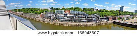 Hamburg Germany - May 24 2008: Hamburg harbor - street