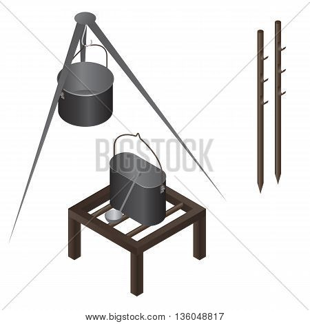 camping food making equipment isometric vector set