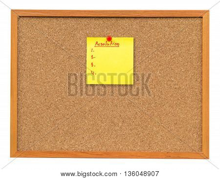 Note Paper Resolution On Cork Board Isolated On White With Clipping Path.