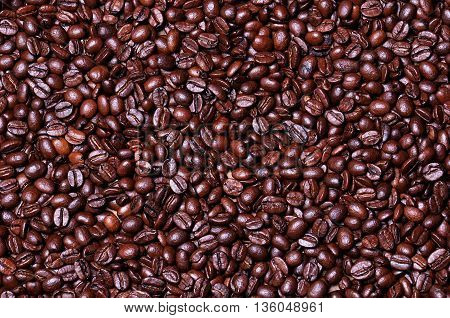 Coffee beans background on table. Coffee beans