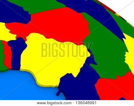 Niger And Nigeria On Colorful 3D Globe