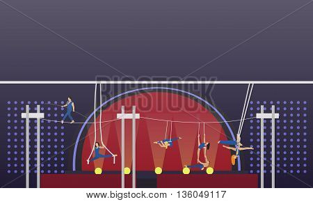 Circus interior concept vector banner. Acrobats and artists perform show in arena. Circus interior.