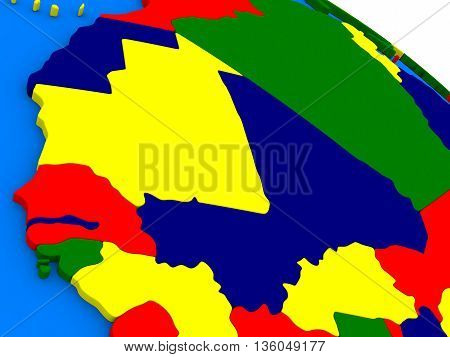 Mali And Senegal On Colorful 3D Globe