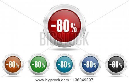 80 percent sale retail round glossy icon set, colored circle metallic design internet buttons