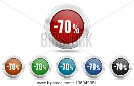 70 percent sale retail round glossy icon set, colored circle metallic design internet buttons