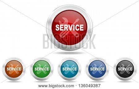 service round glossy icon set, colored circle metallic design internet buttons