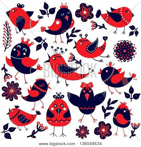 Set of cute birds in cartoon style. Funny little birds and flowers leaves. Fauna symbol. Perfect for greeting cards design children's clothing.
