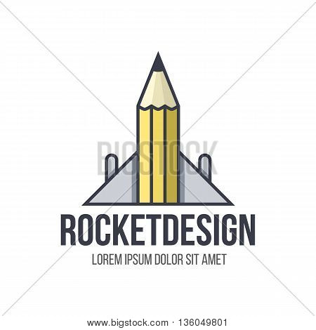Rocker design logo. Concept of design, art, engineering and architecture