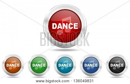 dance music round glossy icon set, colored circle metallic design internet buttons