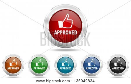 approved round glossy icon set, colored circle metallic design internet buttons