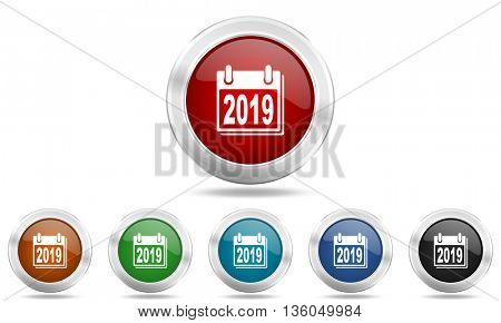 new year 2019 round glossy icon set, colored circle metallic design internet buttons