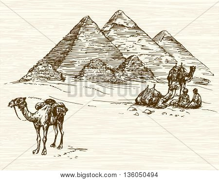 Pyramid of Khafre, Khufu, Menkaure, Cairo, Egypt. Hand drawn illustration.