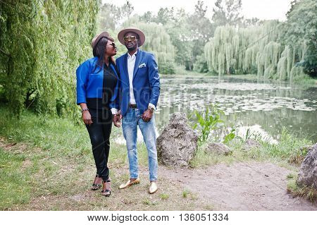 Rich and stylish african american couple outdoor