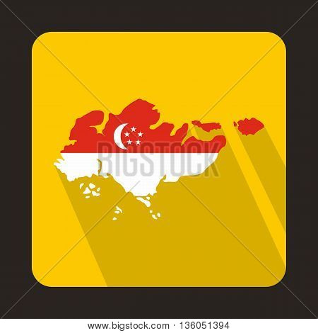 Map of Singapore with flag icon in flat style on a yellow background