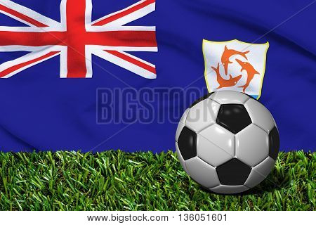 Soccer Ball On Grass With Anguilla Flag Background, 3D Rendering