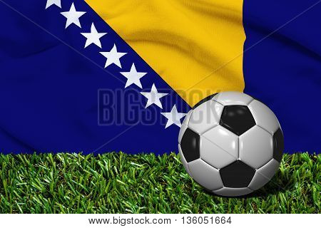 Soccer Ball On Grass With Bosnia And Herzegovina Flag Background, 3D Rendering