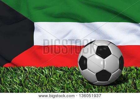 Soccer Ball On Grass With Kuwait Flag Background, 3D Rendering