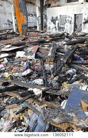 Burned Sweatshop Garment Factory After Fire Disaster