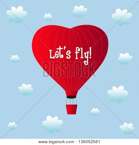 aerostats heart red flying in the clouds, with the inscription, vector illustration