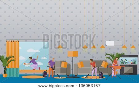 Cleaning service concept vector banner. People cleaning house. Apartment living room interior. Housekeeping company team at work.