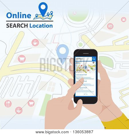 Sharing GPS Location on mobile phone infographic (Vector eps10)