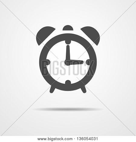 Alarm clock icon - vector illustration. Simple alarm clock sign in flat design.