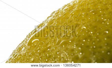 image lemon peel with water drops shot close up