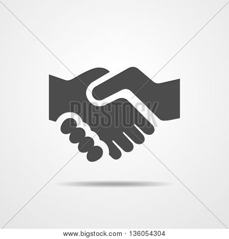 Simple black icon of handshake - vector illustration.