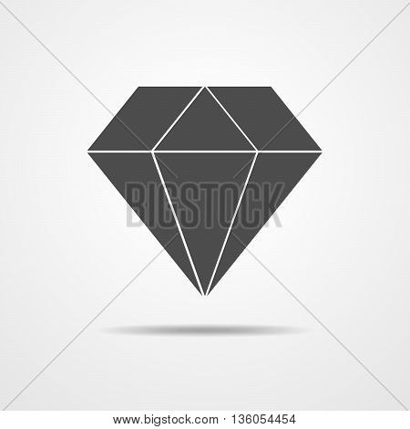 Black crystal icon - vector illustration. Simple diamond icon isolated.