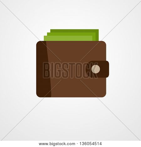 Wallet with green dollars. Flat style money wallet - vector illustration.